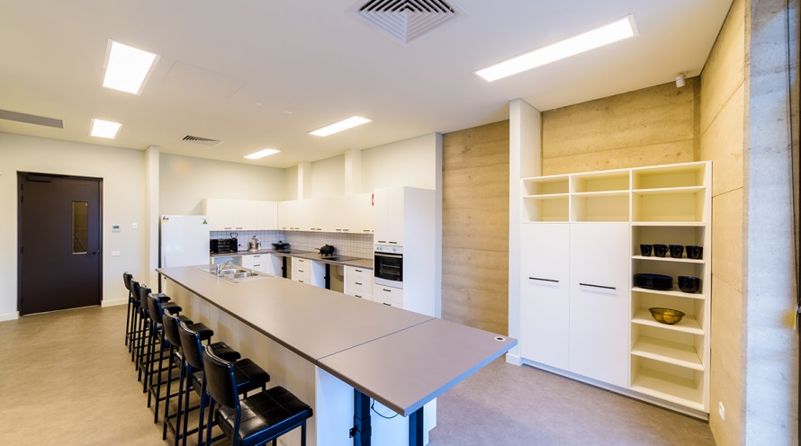Photo of Training Kitchen showing bench and work areas