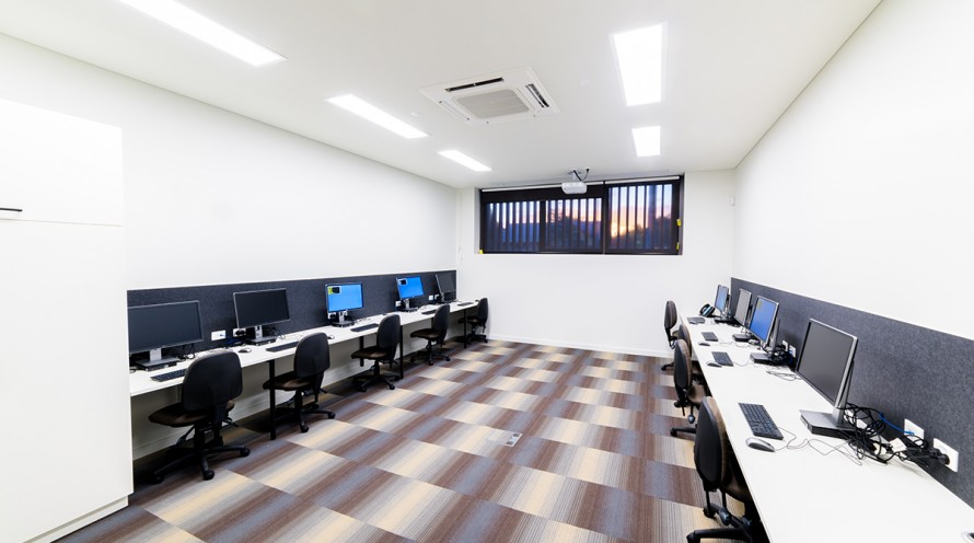 Image of Learning Lab two showing computers, desks and chairs