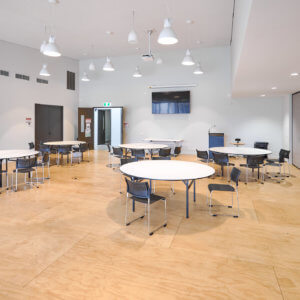 big room with tables and chairs