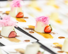 Close-up catering photo of desserts on plates