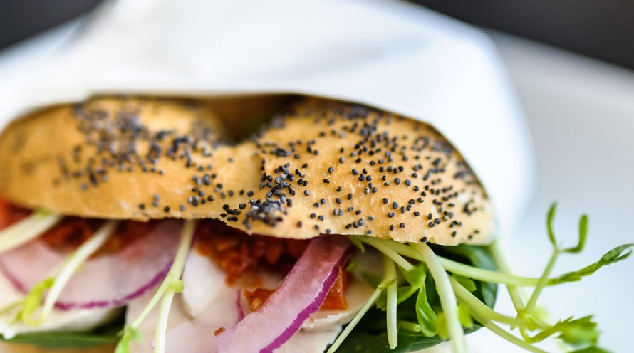 Close-up image of salad bagel on a plate